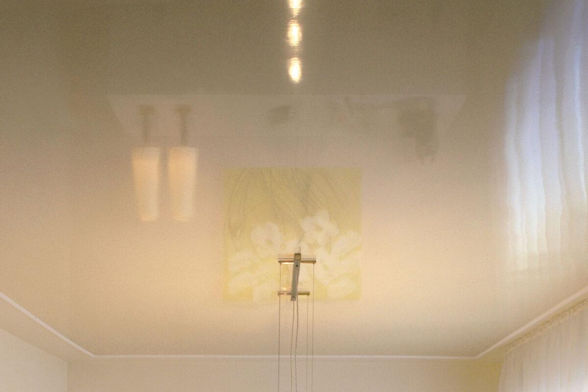 Esszimmergestaltung mit von Hand lackierter Hochglanzdecke